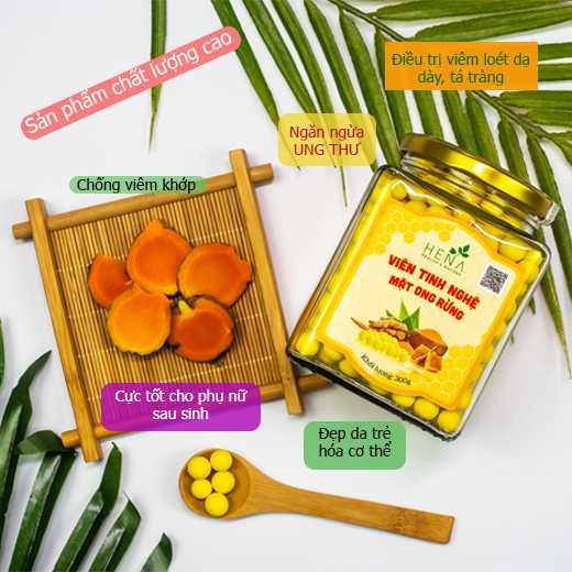 Viên tinh nghệ mật ong rừng Hena 300g - Thương hiệu UY TÍN, 100% nguyên liệu Tự Nhiên